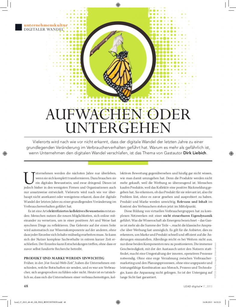 LEAD digital: Aufwachen oder untergehen von Dirk Liebich